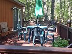 Savor morning coffee on the private deck.