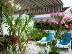Relaxing on the patio/veranda/garden