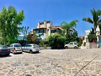 Villa Nefeli is located in the heart of the all cobblestone medieval Loutra village.