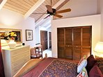 Master bedroom/ensuite with vaulted ceiling, fan and louvres for air flow.  Private & spacious.