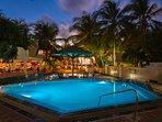 Atrium Beach Resort Pool at Night