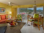 Atrium Beach Resort Living and Dining Area