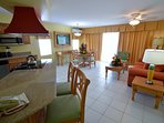 Atrium Beach Resort Kitchen and Sitting Area