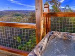 Mountain view from the hot tub.  The new railings provide awesome unobstructed views!