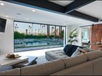 Living Room with 16 foot pocket door to outside