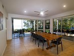 Large dining table with lake views