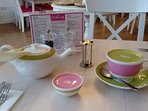 Lovely quality china for a cuppa with fresh tea and a timer for that perfect brew