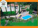 Private Tuscany Villa le Capanne with pool, the villa, the garden, the jacuzzi and the pool.