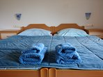 Bed linen and 2 towels per guest are provided