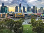 Our apartment overlooks the Yarra River and is directly opposite Crown Casino Complex and Southbank