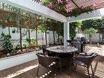 A shady corner of the garden terrace