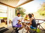 Enjoy the sunny days in the wooden terrace