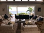 Living room looking out onto pool deck!