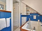 The second floor full bath has a large soaking tub (no shower).