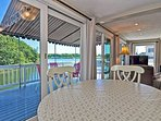 The dining area has a stunning water view.