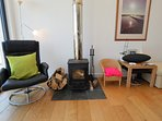 Living room with cosy wood stove
