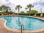 We have an outdoor pool, a covered pool, lazy river, and 6-person hot tub.