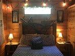 Queen bed with romantic rope lighting