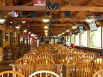 Inside the Maragrita Riverfront Bar. It's a giant beer hall with food and drinks