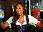 Friendly bartendars, usually decked out in Bavarian garb, slinging huge beers.