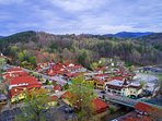 Downtown Helen as seen from a drone. Just a 90 second walk from our property.