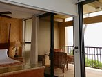Sliding wall open between master and living room, for view- double glass slider  ocean view!