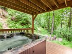 Hot Tub on Private Covered Porch on Lower Level
