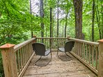 Detached Deck overlooks Creek down a Short Path from Cabin