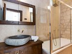 Bathroom featuring a bathtub with aero massage!