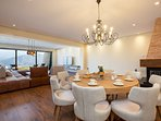 Round dinning table for 8 guests on the ground floor!