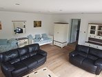 Large living room with TV and DVD/ Blueray player, football table, wheelchair ramp under daybed.