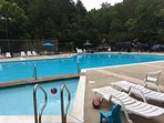 2 pools, smaller adults only; this larger for families, depth from 1' to 9'...grandchildren approved