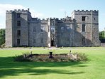 Chillingham Castke, within 5 minutes drive, reputedly England's most haunted castle