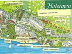 updated Holetown area map showing condos in relationship to adjacent hotel, supermarket, stores, etc
