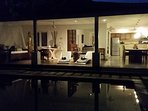 Lovely night time reflections at  Villa Camelot..