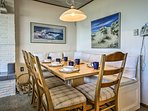 Wine and dine with your loved ones at this table with ample seating.