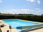Pool and cover to retain heat.