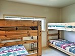 The second bedroom features 2 twin-over-twin-sized bunk beds.