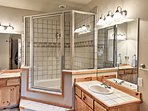Rinse off in the large walk-in shower!