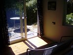 Enjoy South facing Sun trap patio with table and chairs