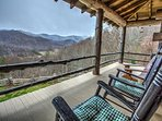 Covered outdoor deck w/ natural mountain view