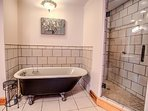Gorgeous bathroom featuring a claw-foot tub