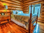 Warm and welcoming cabin bedroom