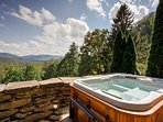Hot tub and view from Main Lodge front porch