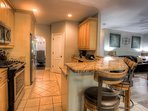 Fully loaded kitchen with bar seating