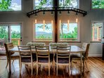 Hardwood dining table with beautiful mountain view