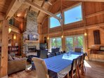 Open floor plan with dining and living room
