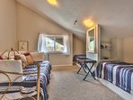 Upstairs Loft with 2 Twin Beds and a Day Bed, and Shared Bath Access