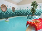 The pristine indoor pool is open year-round!