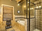Soak in the jetted tub or take a quick rinse in the walk-in shower.